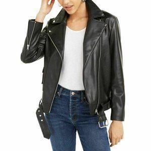 NWT BAR III Black Faux Leather Biker Jacket XL
